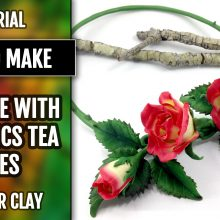 Patron $15+ Necklace with Realistic Tea Roses from Polymer Clay