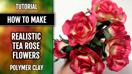 Patron $10+ Realistic Tea Rose Flowers from Polymer Clay Premo