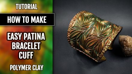 Easy Patina Cuff Bracelet from polymer clay in ONE baking process