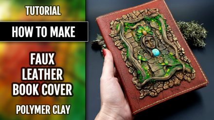 Faux Realistic Leather Sketch Book Cover from FIMO Leather Effect