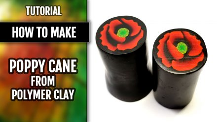 Patron $15+ Video Tutorial: Polymer clay Black and Red Poppy cane