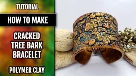 Patron $15+ Video Tutorial: Polymer clay Bracelet – Cracked Tree Bark