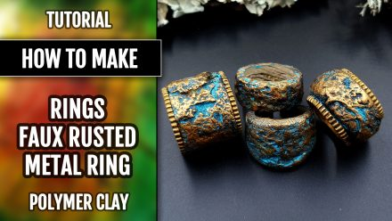 Free Tutorial: Stone and Rock rings from polymer clay