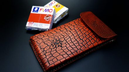 My 1st Faux Leather Phone Case from amazing polymer clay Fimo Leather Effect