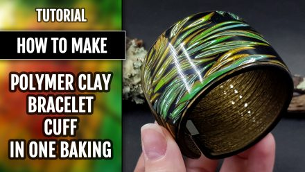 Patron $10+ Video Tutorial: Polymer clay Bracelet cuff in one baking