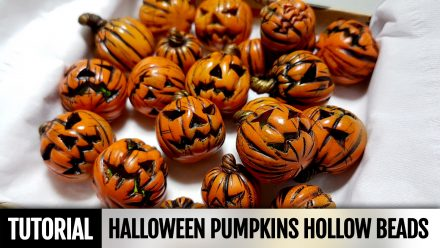 Free Tutorial: Polymer clay Hollow Pumpkins beads for Halloween!