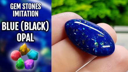 Patron $10+ Video Tutorial: Polymer clay faux Blue (Black) Opal stone