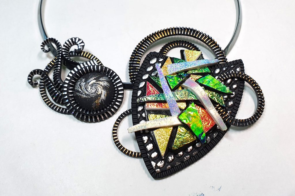 Polymer clay & UV Resin: Picasso Style Faux Fused Glass Necklace 17