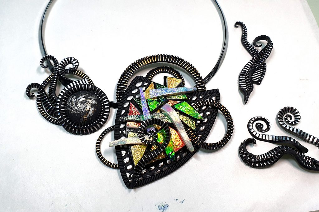 Polymer clay & UV Resin: Picasso Style Faux Fused Glass Necklace 14
