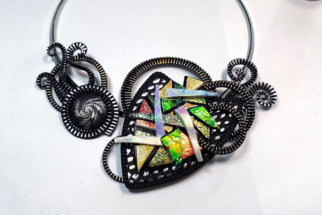 Polymer clay & UV Resin: Picasso Style Faux Fused Glass Necklace 15