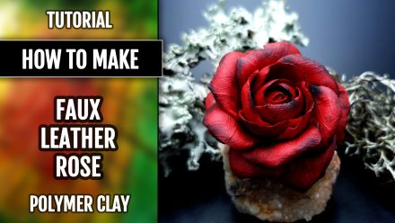Patron $5+ Video Tutorial: Faux Leather Rose from Fimo Leather Effect