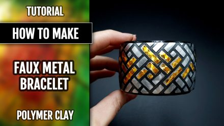 ($5+) Video Tutorial: How to make Stylish Polymer Clay Bracelet with foils and stencils