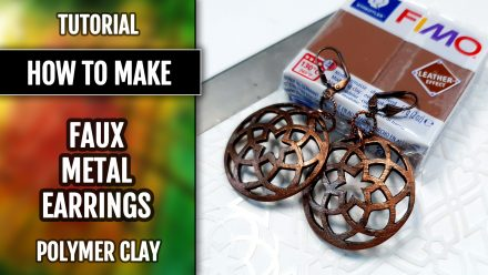 Free Tutorial: Polymer clay Earrings – Metal Imitation with Fimo Leather Effect and plastic stencils