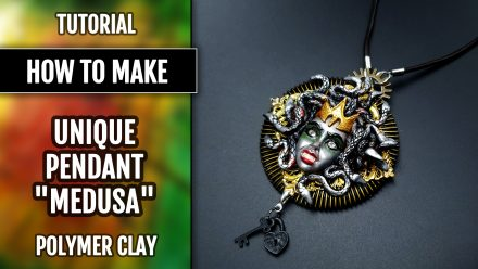 "($15+) Video tutorial: How to make Polymer Clay Pendant ""Medusa"""