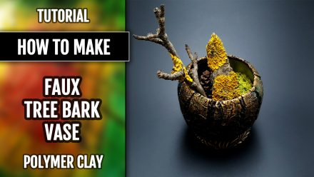 ($35+) Video Tutorial: How to make Polymer Clay Faux Tree Bark Vase Pot
