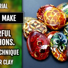 ($15+) Video tutorial: Part 1. How to make Beautiful and Colorful Polymer Clay Cabochons.