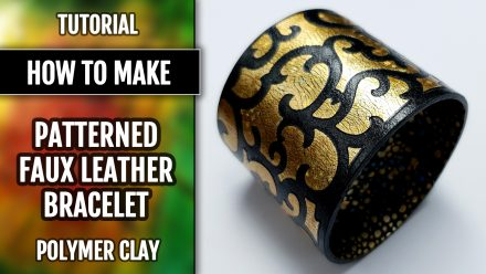 Free Tutorial: Fimo Leather Polymer clay Bracelet with Stencils and Foils