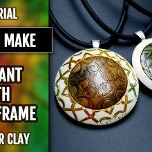($5+) Video Tutorial: How to make Polymer Clay Pendant with Cabochon