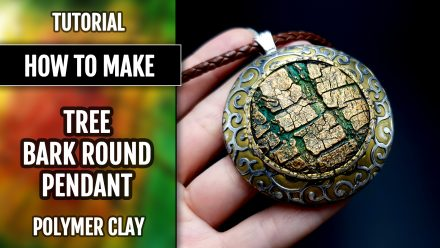 ($15+) Video tutorial: How to make Beautiful Polymer Clay Round Pendant with Tree Bark texture