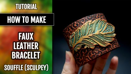 Free Polymer clay Tutorial: Faux Leather Bracelet with Sculpey Souffle – Flexible and Durable