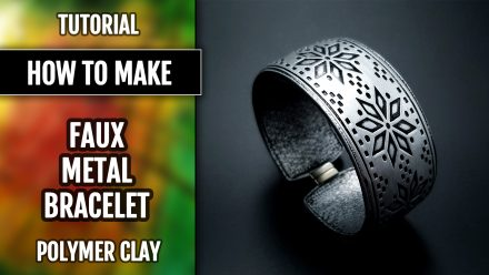 Free Polymer clay Tutorial: How to make Faux Silver Bracelet from Polymer clay. Metal imitation technique