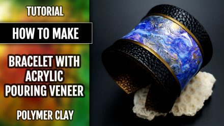 Free tutorial: Acrylic Pouring Technique Veneer in Polymer clay Bracelet Project