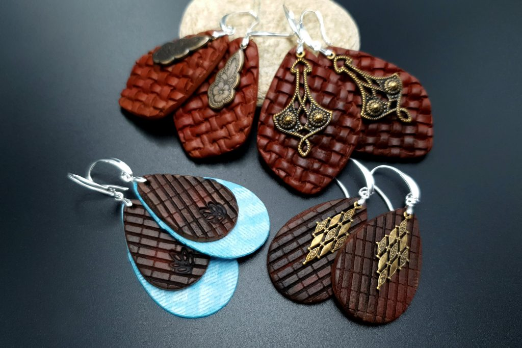 Free Video Tutorial: How to make Attractive Textured Polymer Clay Earrings 2
