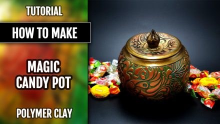 ($35+) 3 Video tutorials: Polymer clay Magic Veneer Surface Technique. Candy Pot and Plate.