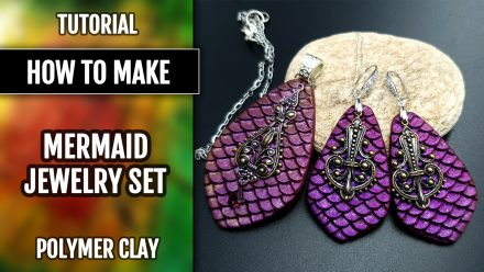 Free Video Tutorial: How to make Attractive Mermaid Jewelry Set with Polymer Clay and texture