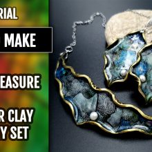 Free Video Tutorial: How to make Beautiful and Delicate Jewelry Set with Polymer Clay and Nail Foils.