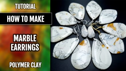 Free Video Tutorial: How to make faux Marble Earrings from polymer clay.