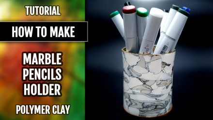 Free Video Tutorial: How to make a faux Marble pencils holder from polymer clay.