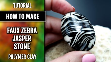 ($35+) Video tutorial: How to make Faux Zebra Jasper. Polymer clay stone imitation.