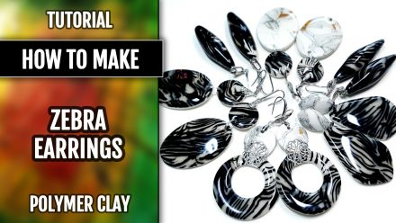 ($5+) Video Tutorial: How to make Zebra Jasper Earrings from polymer clay