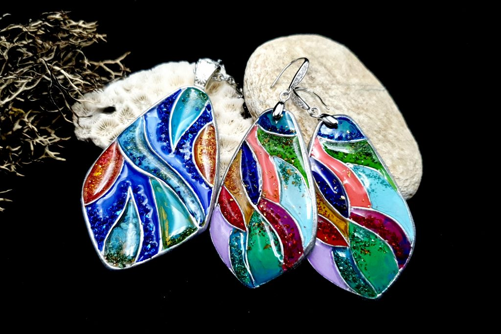 "Free Video Tutorial: How to make unique polymer clay Silver Jewelry Set ""Summer Jam"". 2"
