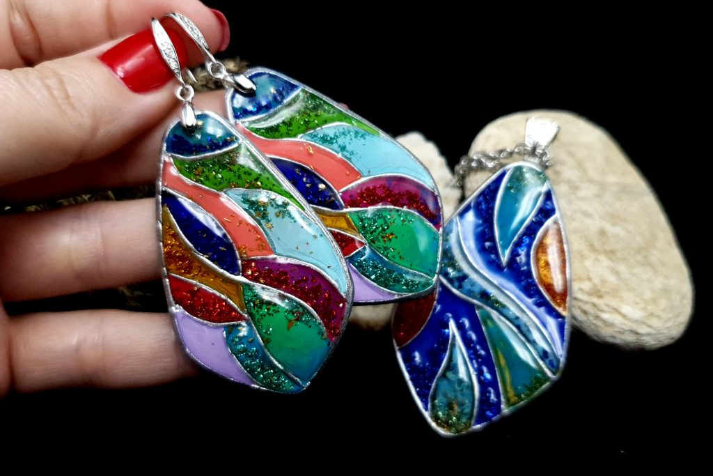 "Free Video Tutorial: How to make unique polymer clay Silver Jewelry Set ""Summer Jam"". 3"