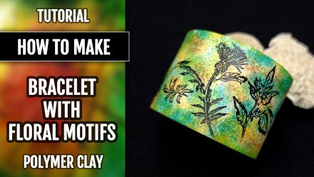 ($5+) Video Tutorial: How to make Polymer Clay Wide Bracelet Cuff with a floral pattern!