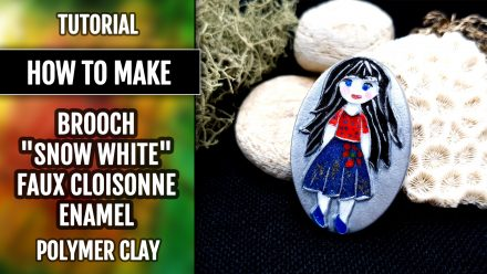 "Free video tutorial: How to make unique polymer clay Brooch ""Snow White""."
