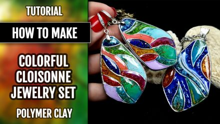 "Free Video Tutorial: How to make unique polymer clay Silver Jewelry Set ""Summer Jam""."