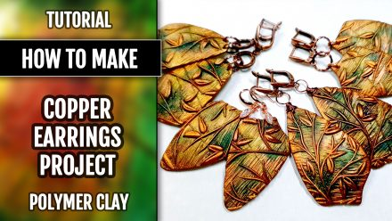 "Free video tutorial: How to make beautiful copper polymer clay earrings ""Spring Leafs"""