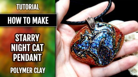 "Free video tutorial: How to make unique polymer clay Pendant ""Starry Night Cat"" 10"