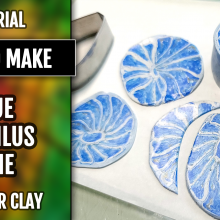 ($5+) Video Tutorial: How to make blue Nautilus cane from Polymer Clay.