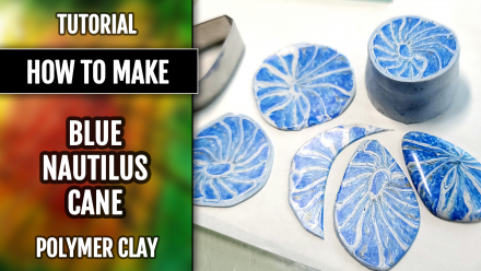 ($5+) Video Tutorial: How to make blue Nautilus cane from Polymer Clay. 8