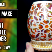 ($35+) Video tutorial: How to make a Translucent Vase Candle (fake candle) Holder with Polymer Clay!