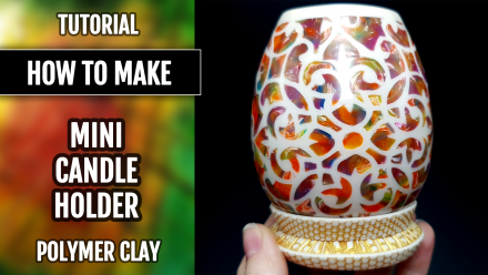 ($35+) Video tutorial: How to make a Translucent Vase Candle (fake candle) Holder with Polymer Clay! 5