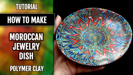 ($15+) Video Tutorial. How to make unique polymer clay Moroccan Jewelry Dish 6