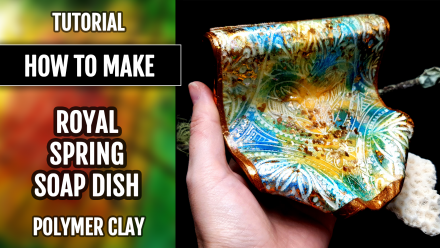 "($10+) Video tutorial: How to make Polymer Clay ""Royal Spring"" ""soaring"" Soap Dish! 7"
