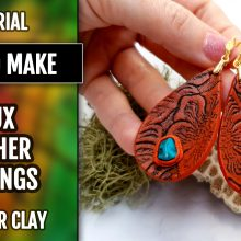 Free Video Tutorial: Faux Leather Earrings. Fimo Leather Effect.