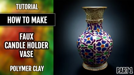 ($10+) Video tutorial: How to Make a Colorful polymer clay Vase-Candle holder! Part 1.